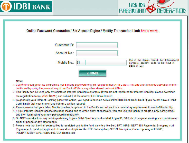 IDBI Net Banking Account