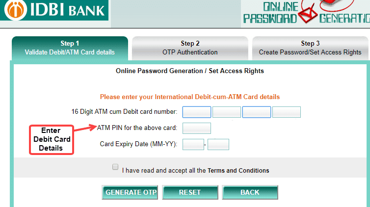 IDBI Net Banking Online Password