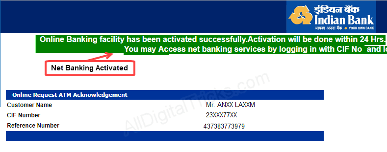 Indian Bank Netbankiong Facilities
