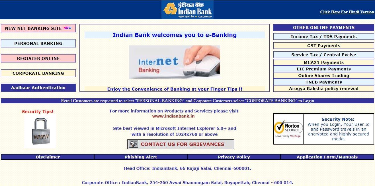 Indian Bank Net Banking Login and Register Online Guide