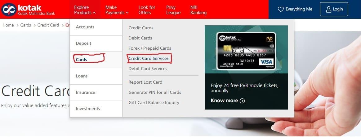 Kotak Mahindra Credit Card Status Process Online / Offline